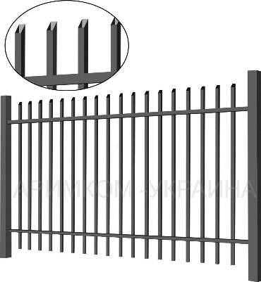Металлический забор «Дзен standart» имеет горизонтальные лаги из оцинкованной трубы