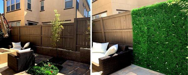 Реновация, установка сетки рабицы с искусственной хвоей на существующий деревянный забор