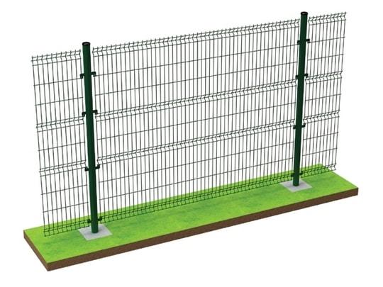 Монтаж забора из сетки с бетонированием, стандартный, надёжный и не дорогой вид установки
