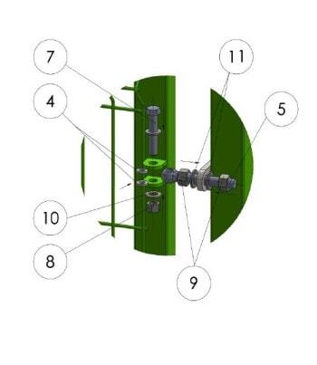 4) Оденьте створку калитки на столб несущий при помощи откидных болтов