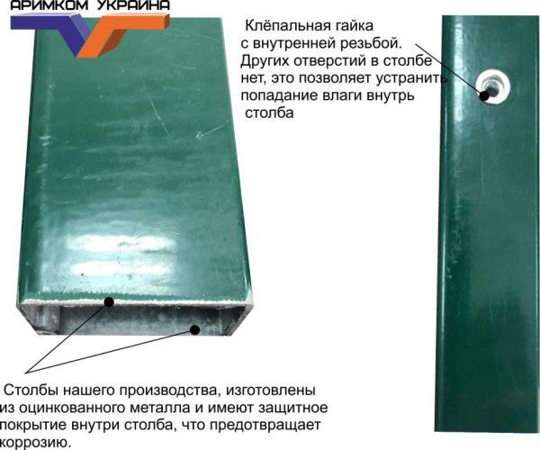 stolb pvh 600x500 - Столб H - 1.3м/ППЛ/56х36х1.5мм/анкер без отверстий, под хомут