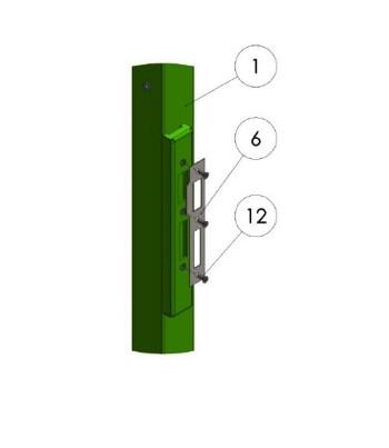 3) Установите планку ответную на короб столба ответного