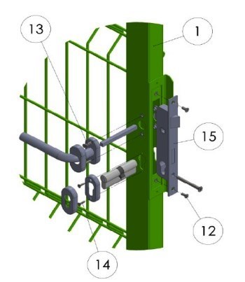 2) Установите замок и гарнитуру на створку калитки